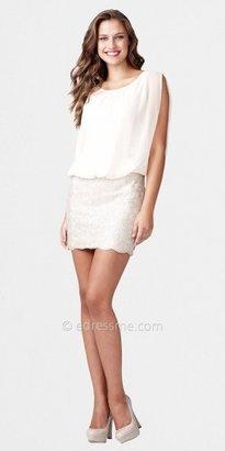 Aidan Mattox Chiffon Top Dresses with Beaded Short Skirts