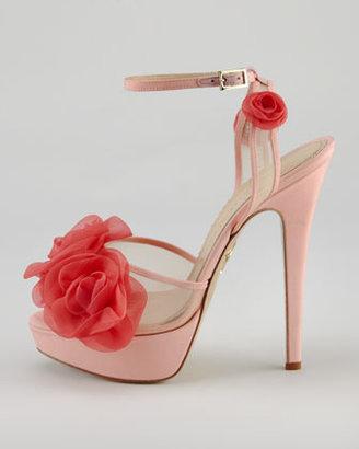 Charlotte Olympia Fleur Ankle-Wrap Platform Sandal, Pink