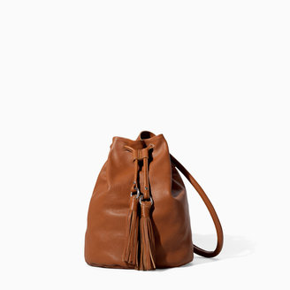 Zara Leather Bucket Bag With Tassels