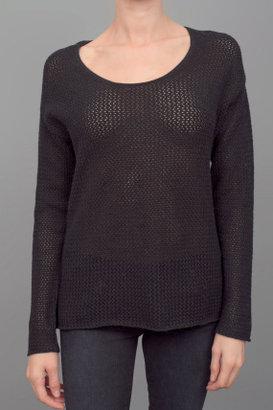 Dear Cashmere Long Sleeve Waffle Sweater Black