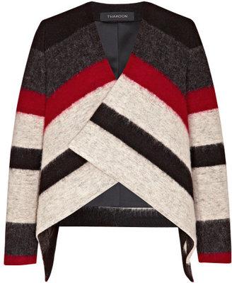 Thakoon Striped Wool-Blend Draped Jacket