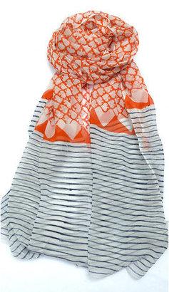 Mila Trends Block Print Scarf Orange White