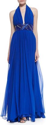 Catherine Malandrino Silk Halter Beaded-Waist Gown