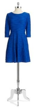 Donna Morgan Textured Wave Stripe Fit and Flare Dress