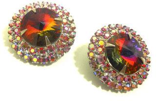 60s Rivoli Crystal Clip Earrings