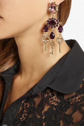 Dolce & Gabbana Gold-plated Swarovski crystal clip earrings