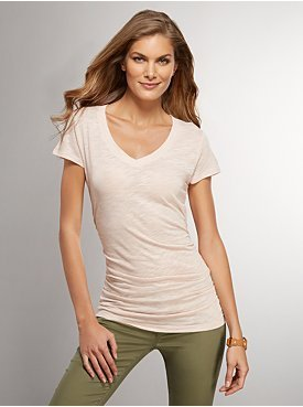 New York & Co. Side-Shirred V-Neck Tee