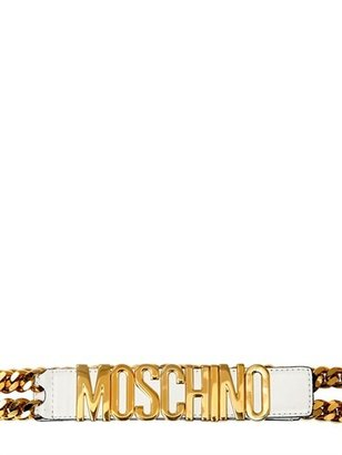 Moschino 35mm Leather Low Waist Chain Belt