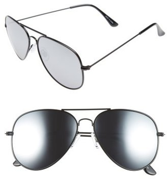 Women's Bp. Mirrored Aviator 57Mm Sunglasses - Black/ Silver $12 thestylecure.com