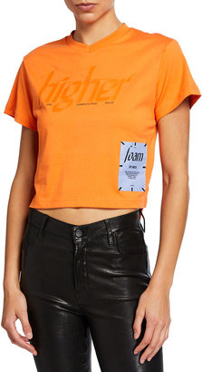 Mcq Swallow Cropped V-Neck High-Low Tee