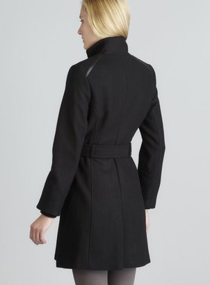 Vince Camuto Black Faux Leather Detail Belted Funnel Neck Wool Coat