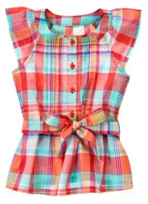 Crazy 8 Pintucked Plaid Flutter Top
