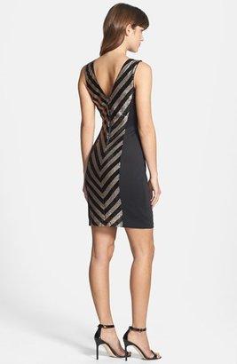 GUESS Sequin Stripe Scuba Sheath Dress