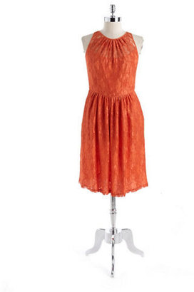 Carmen Marc Valvo Lace Fit-And-Flare Dress