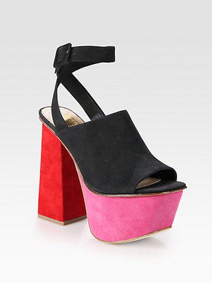 Dolce Vita Gena Suede and Nubuck Leather Colorblock Platform Sandals