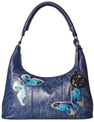 Anuschka Medium Top Zip Hobo 371 (Garden of Delights) Shoulder Handbags