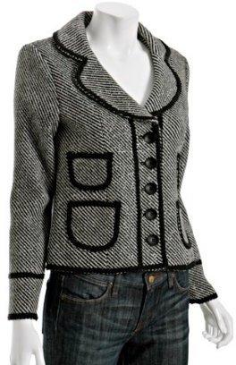 Priorities black metallic stripe 'Audrie' cropped jacket