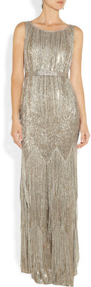 Oscar de la Renta Beaded metallic silk-blend gown