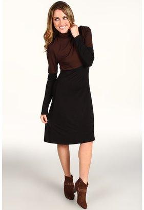 Karen Kane Rayon Spandex Jersey Color Block Turtleneck Dress (Black/Brown) - Apparel