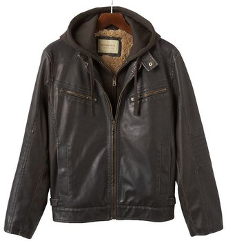 Sonoma life + style faux-leather hooded jacket - men