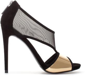 Zara High Heel Sandal With Mesh