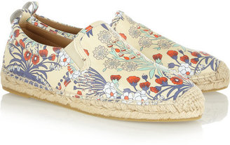 Floral-print washed-leather espadrilles