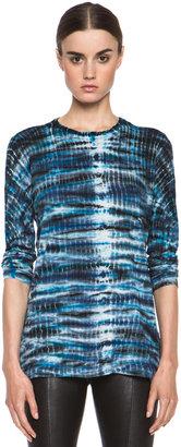 Proenza Schouler Tie Dye Jersey Tee in Turquoise & Navy