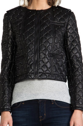 Alice + Olivia Siri Quilted Zipper Sleeve Biker Jacket