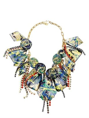 Katerina Psoma Gold Plated Chains And Glass Necklace