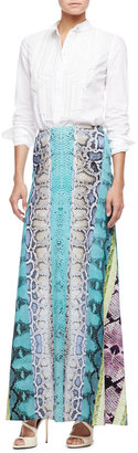 Roberto Cavalli Paneled Snakeskin-Print Maxi Skirt, Turquoise/Multi