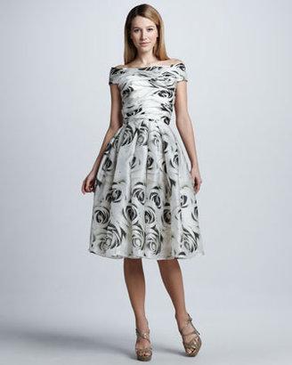 Naeem Khan Full-Skirt Rose-Print Cocktail Dress