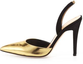 Kate Spade Levana Metallic Pointy Slingback Pump, Gold/Black