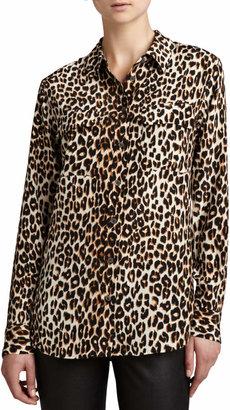 Equipment Signature Leopard-Print Slim Blouse
