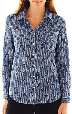 Liz Claiborne Long-Sleeve Button-Front Paisley Shirt