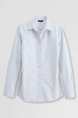 Lands' End NQP Women's Regular Long Sleeve Straight Collar Oxford Sportshirt