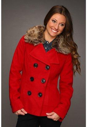 Dollhouse Peacoat w/ Detachable Faux Fur Collar (Royal Red) - Apparel