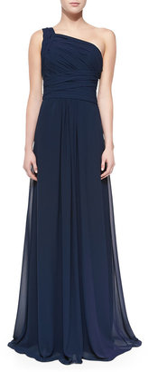 Monique Lhuillier Bridesmaids One-Shoulder Overlay Gown, Electric