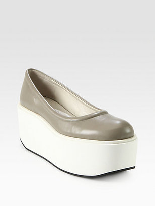 Jil Sander Navy Leather Platform Pumps
