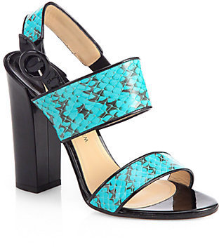 Bodhi Paul Andrew Snakeskin & Patent Leather Sandals