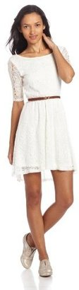 My Michelle Sequin Hearts by Juniors Lace Crew Neck Dress with Belt