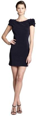 ABS by Allen Schwartz midnight blue sateen rosette shoulder open back dress
