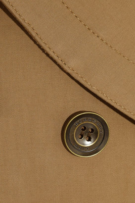 Burberry Short leather-trimmed cotton-twill trench coat