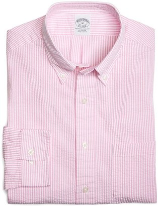 Brooks Brothers All-Cotton Slim Fit Pink Seersucker Stripe Sport Shirt