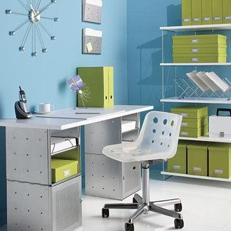 Container Store Steel Cube Desk White Top