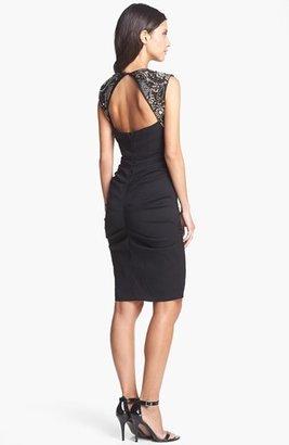 Nicole Miller Embellished Ruched Sheath Dress