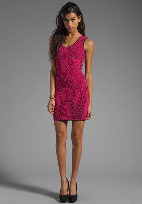 RVN Aztec Jacquard Dress in Fuchsia/Black