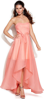 JS Boutique Strapless Lace-Bodice High-Low Gown
