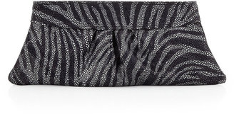 Lauren Merkin Eve Zebra Encrusted-Glass Clutch, Charcoal