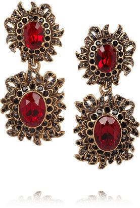 Oscar de la Renta Sunburst gold-plated crystal clip earrings