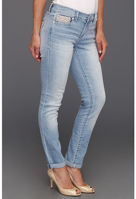 Calvin Klein Jeans Petite Petite Ultimate Skinny Ankle Roll w/ Embroidery in Light Wash